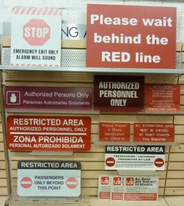 Terminal general area Red signs