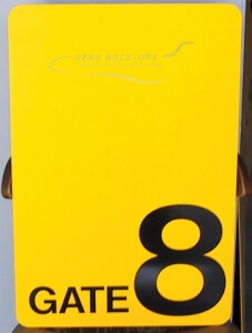 Sign - Gate 8 yellow
