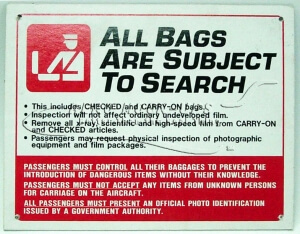 Sign - All Bags are Subject to Search