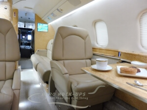 Learjet 60 fwd club chairs, sofa and cockpit