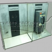 Dual wall-mounted pay phone kiosk