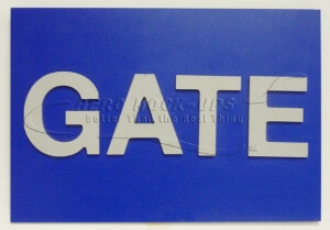 "Blue gate sign - ""Gate"""