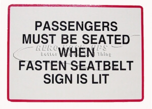 34-110 Sign - Passengers Must Be Seated