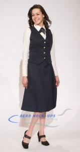 37-1-1L Long Navy elastic Skirt & vest