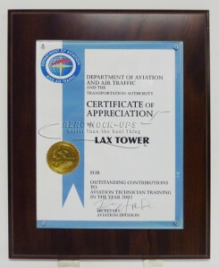 38-50 Plaque - Cert. of Appreciation
