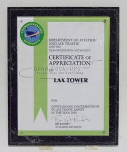 38-52 Plaque - Cert. of Appreciation, Green